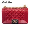 Manka vesa marca de moda bolso de las mujeres diseñadores de alta calidad de gel de sílice de rombo bolso de la jalea bolsas de mensajero portátil