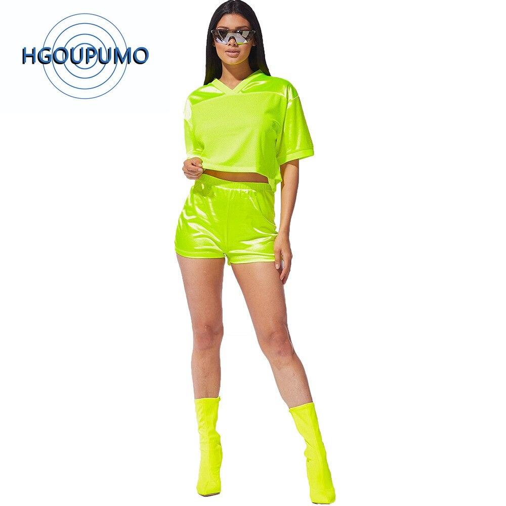 Néon vert maille Patchwork deux pièces tenue femmes Festival vêtements col en V demi manches haut court et motard court survêtement de sport