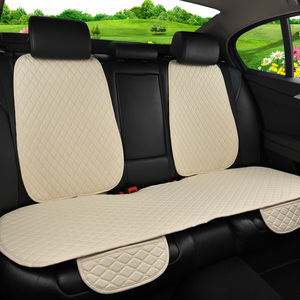 Image 3 - Car Seat Cover Universal Flax Car Rear Seat Cushion with Backrest Four Seasons Interior Auto Chair Seat Carpet Mat Pad