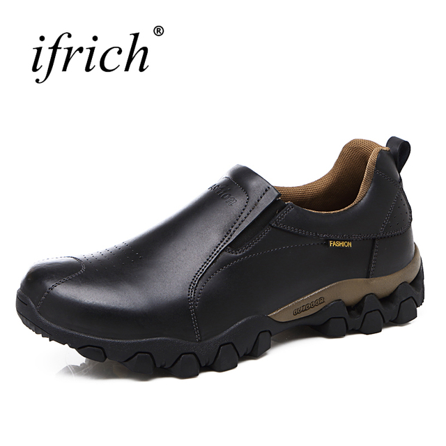 2017 Men Outdoor Hiking Shoes Spring/Autumn Boots Trekking Men Leather Mountain Climbing Sneakers Black Brown Mens Trail Shoes