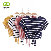 GOPLUS Women Tied Cropped T Shirts Striped Tied O-neck Crop Top Fashion Casual Short T Shirt Women Summer Casual Knot Front Tee недорого
