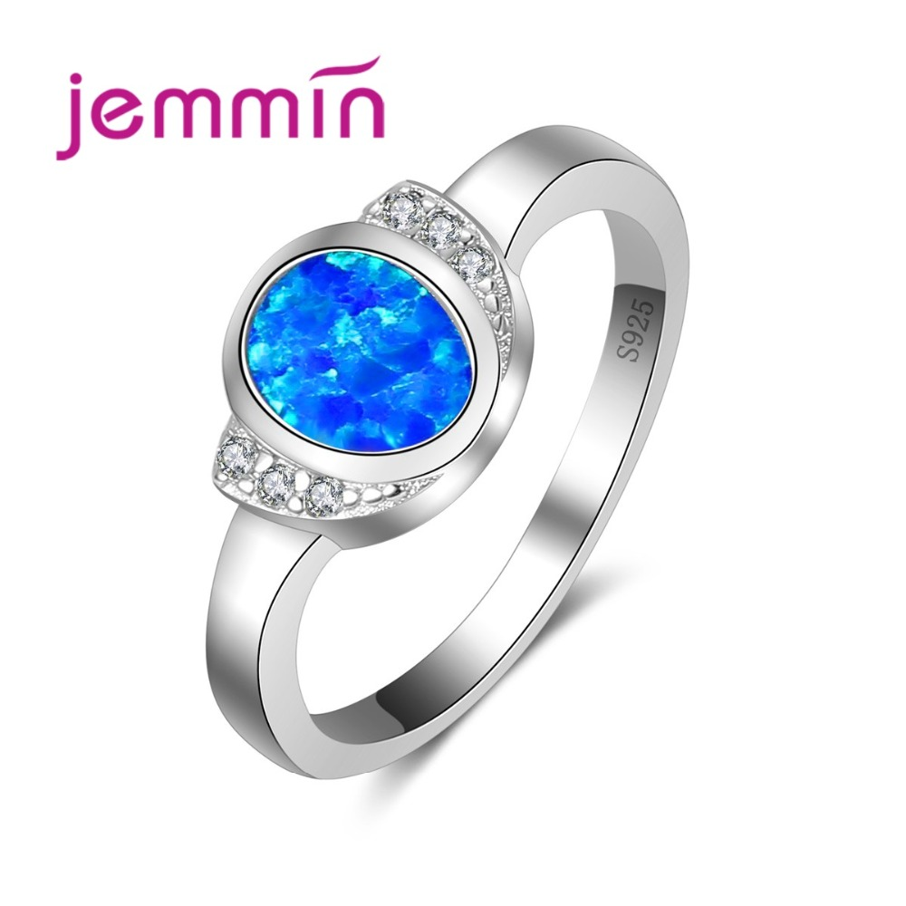 Wholesale Engagement Rings For Women With Blue Fire Opal Stone Simple 925 Sterling Silver Wedding Ring For Brides Jewelry