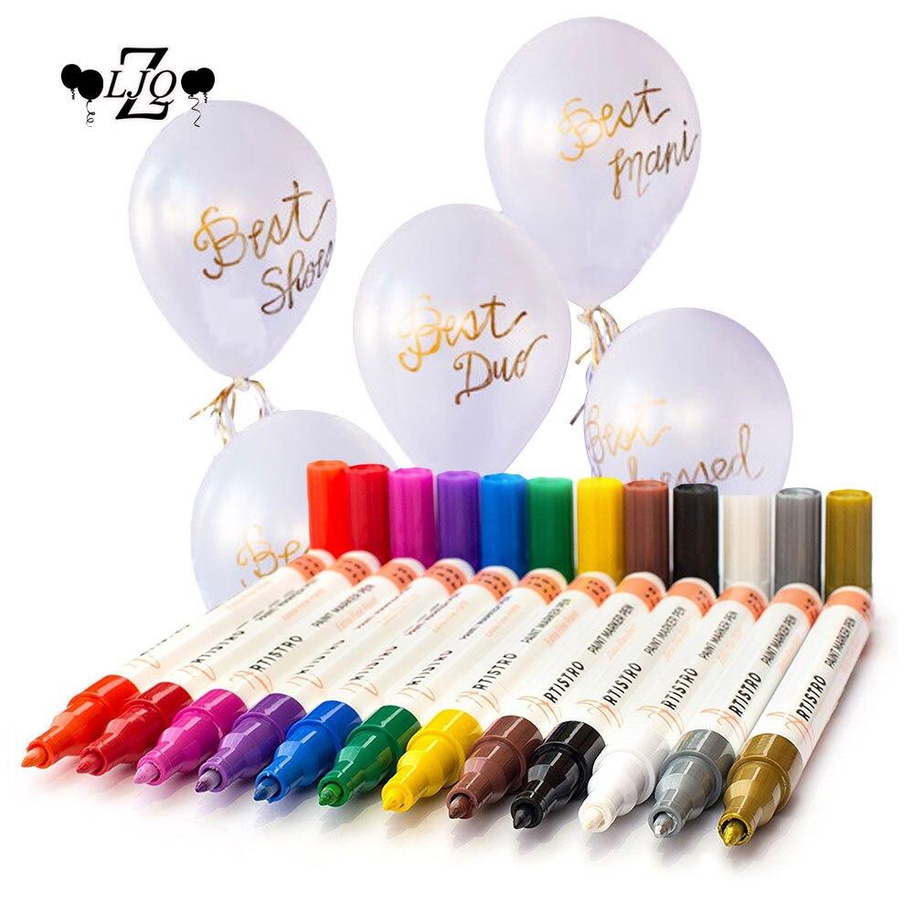 ZLJQ 1 шт. Краски ручки + 10 шт. 12-дюймовый воздушный шар латекса для Diy Свадьба День рождения Baby Shower невесты Вечерние шары украшения