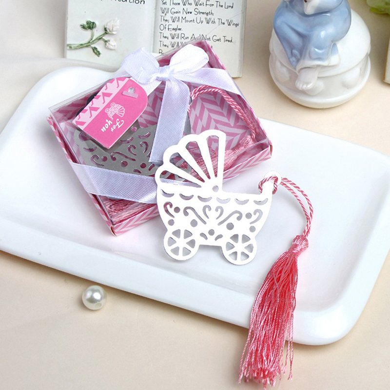 100PCS Blue Pink Baby Carriage Bookmark Wedding Favors And Gifts Birthday Party Baby Shower Favor Gifts Girl Boy Weeding Favor