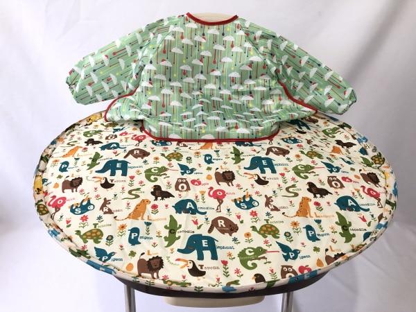 1 комплект-детское обеденное кресло с блюдцем Манхэттенский чехол для стульев и халаты для еды для младенцев и малышей - Цвет: cartoon and cloud