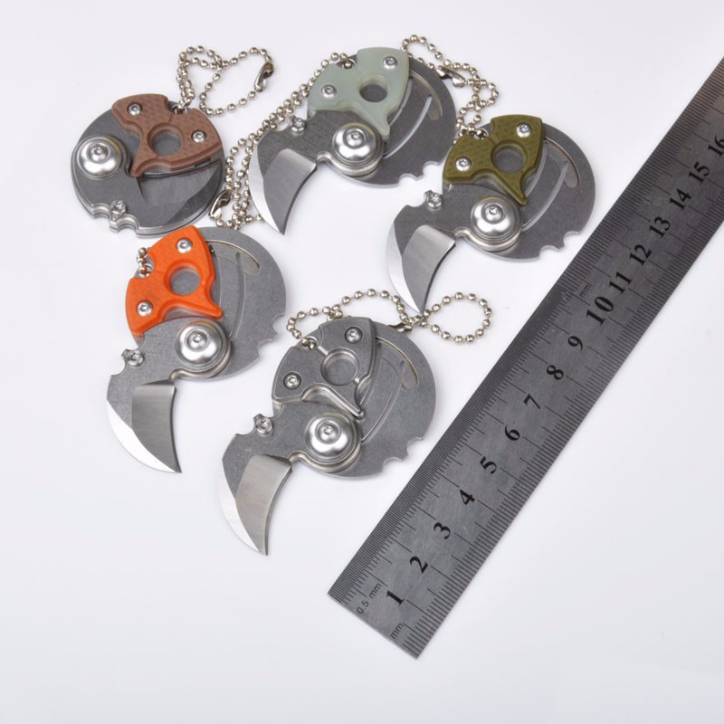 Coin Folding font b Knife b font 58HRC 8CR18MOV Blade Necklace Survival Knifes Pocket Wallet Multi