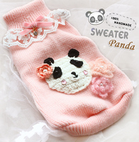 Gratis verzending Handgemaakte custom Schattige kleine panda kant kraag roze hond trui huisdier puppy kleding