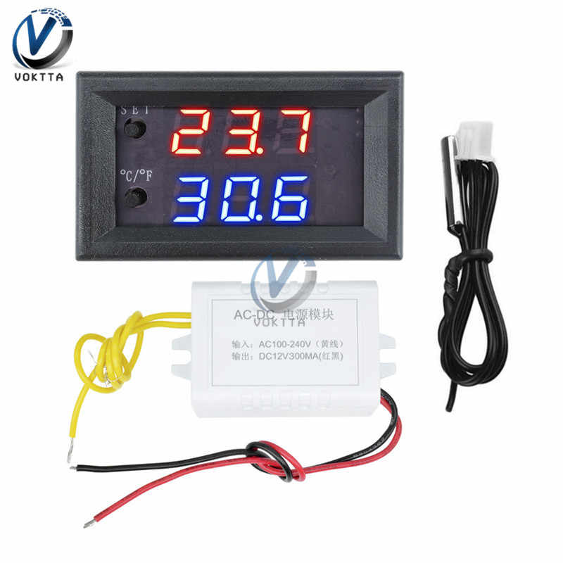 W1209WK Digital LED Thermostat Suhu Controller Smart Sensor Suhu Papan Modul 12V 110V 220V NTC Thermostat Sensor probe