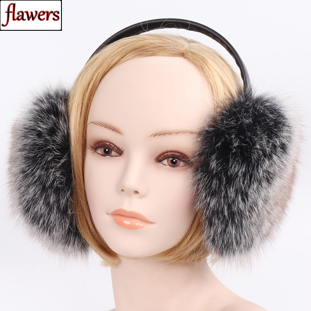 2019 New Russian Women 100% Natural Fox Fur Earmuffs Winter Warm Pompoms Fox Fur Plush EarMuff Girls 100% Real Fox Fur Earflaps