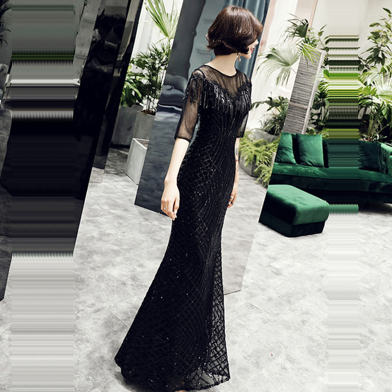 Evening Dress Half sleeve Women Party Dresses Elegant Backless Robe De Soiree 2019 Plus Size O neck Sequin Formal Gowns E722 in Evening Dresses from Weddings Events