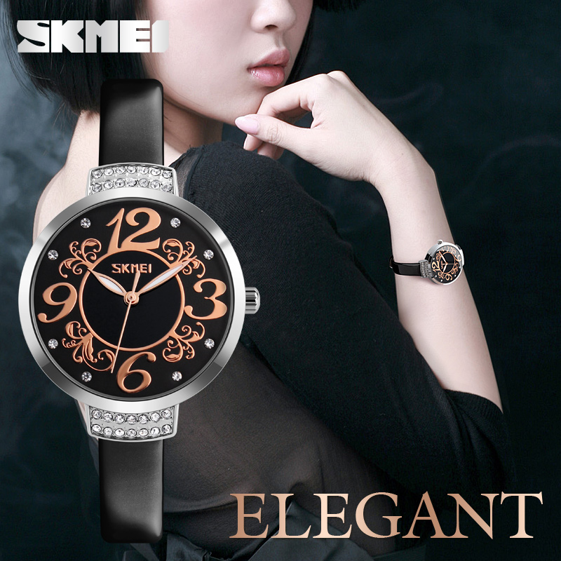 SKMEI Top Brand Women Watches Genuine Leather Quartz Watch