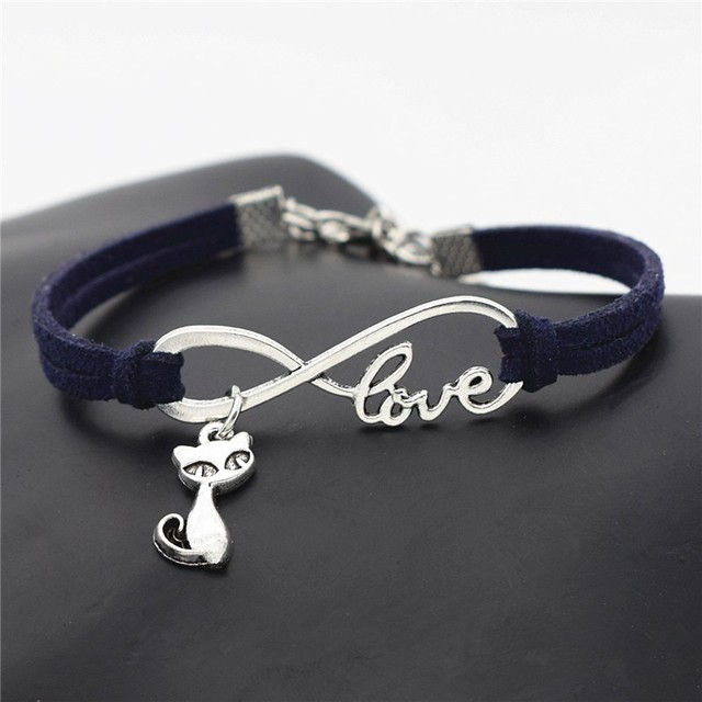 Infinity Sign Bracelets with Cat Pendants