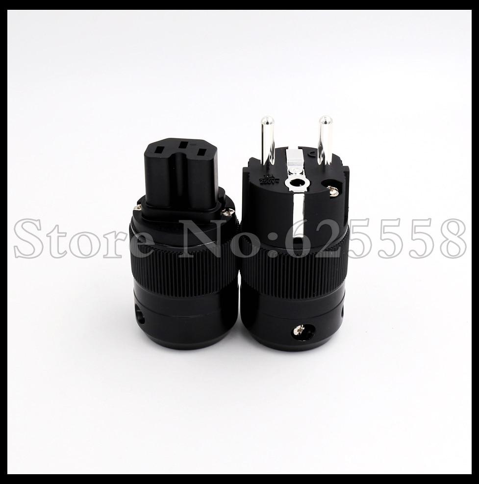 2 pairs Electric Plug power Socket Adapter Silver Plated SCHUKO EU version Plug