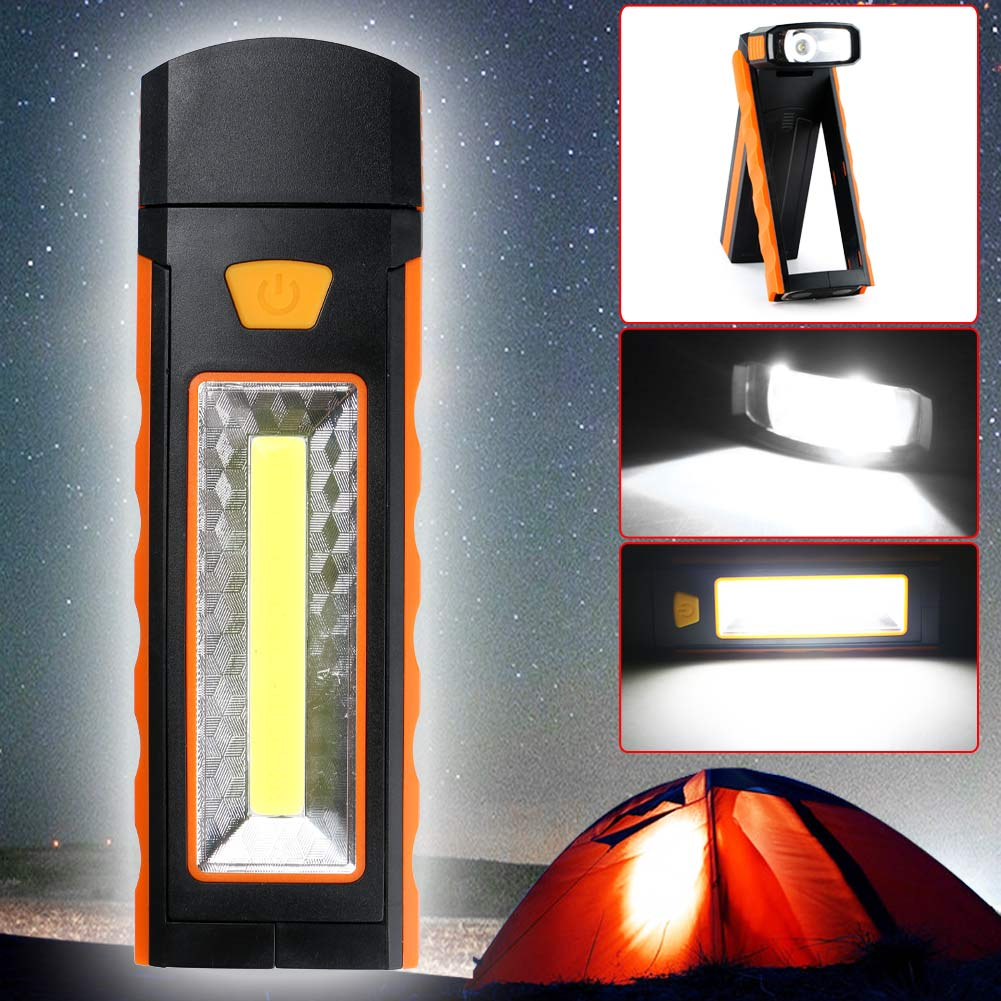 COB LED Inspection Work Light Camping Lamp Magnetic Flashlight Torch w//Hook