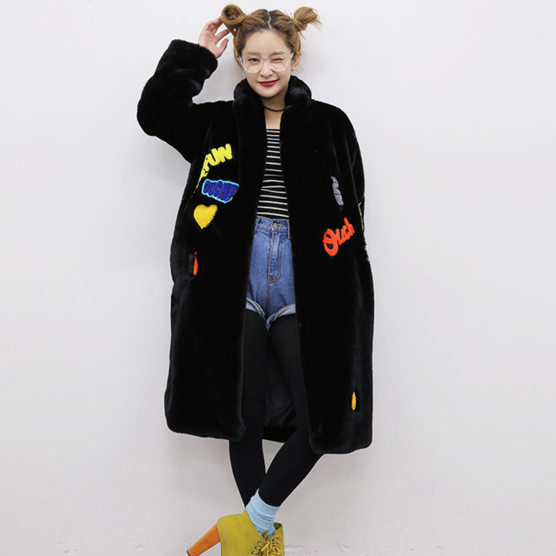 2019 New outerwear Artifical Rabbit Fur Korean Long Plus Size Casual Thick Warm OvercoatLoose Winter Jacket Women Coat QH420