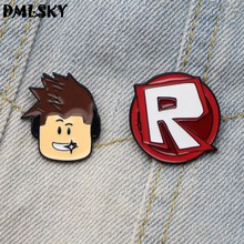 DMLSKY ROBLOX Funny Brooch Metal badge Women and Men Enamel Pins Brooches for Clothes Bags Shirt Collar Pin Gifts M3047(China)