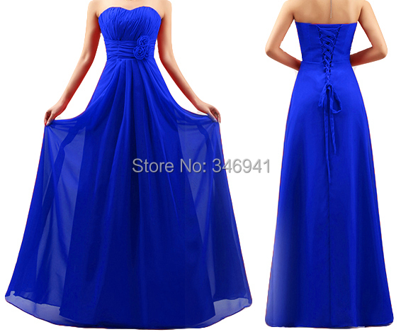 Royal Blue Bridesmaid Dress Strapless