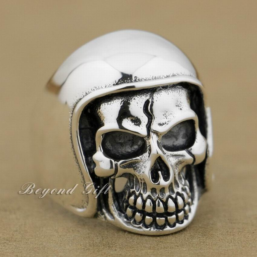 Énorme lourd 925 en argent Sterling casque de Football chapeau crâne hommes motard anneau 9Q011