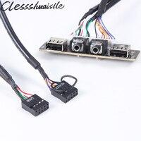 Case Del Computer PC PCB Pannello Frontale USB 2.0 Audio Porta Mic Cavo del Trasduttore Auricolare Cavo di Collegamento della Scheda Madre