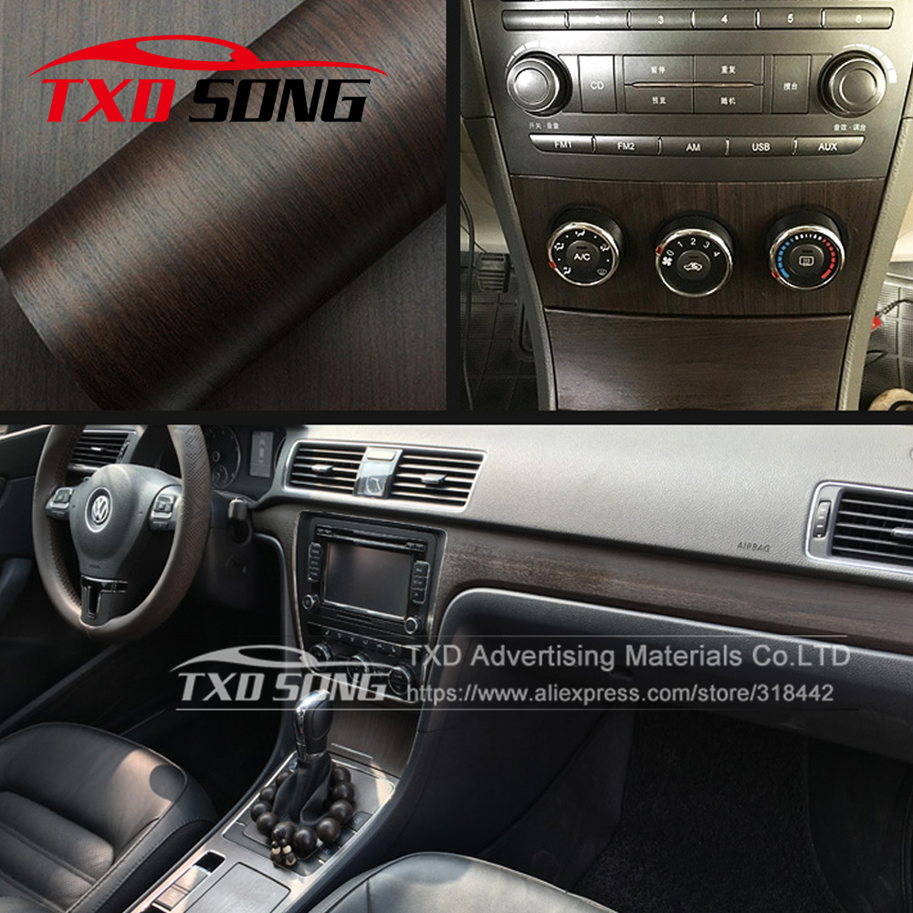 New W1399 Wood Grain Protection Vinyl Film Scratch Car-styling Stickers And Decals Central Control Panel Interior Trim