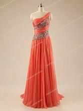 Echt Fotos Orange 2016 Schulter Perlen Prom Kleider Chiffon A-linie Formale Abendkleider Bodenlangen vestidos de fiesta