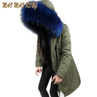 Winter 2019 long army green winter jacket women outwear thick parkas raccoon natural real fur collar coat hooded pelliccia