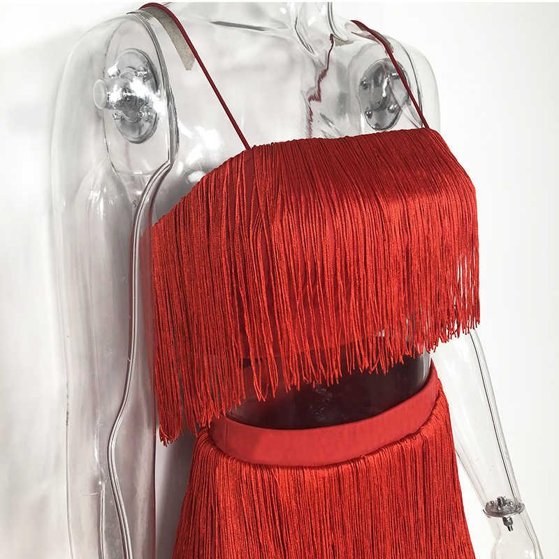 Newasia conjunto cropped de 2 peças feminino, conjunto cropped com borla e saia, roupas sexy para o verão conjunto combinando mulheres