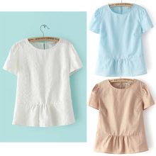 Nice Summer Cotton Blouses Flounce Bottom Blouses Sweet Lady Cute Shirts Short Sleeve Casual Slim Elegant Tops EL81