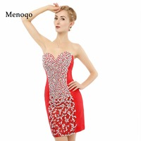 Real Photo 8th Grade Prom Dresses Juniors Sexy Red Sheath Heavy Beaded Above Knee Special Occasion