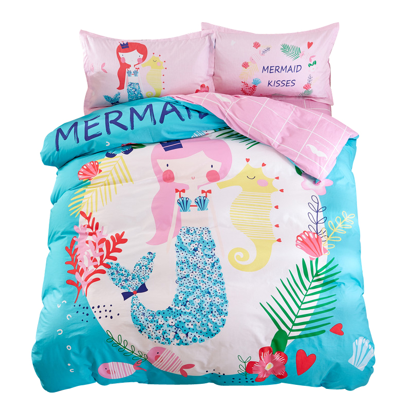 Mermaid Sheet Pillowcase Duvet Cover Sets Twin Single