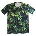 Children 's 2016 verano nueva camiseta de moda verde Weed camiseta de la impresión de la muchacha del muchacho dos cara de impresión Tee Tops manga corta ropa Casual