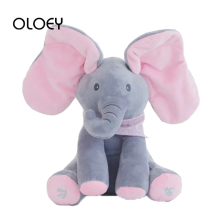 OLOEY Baby Electric Peekaboo Toys for Kids Lovely Singing Play Elephant Rabbit Appease Stuffed Plush Animals Child Birthday Gift(China)