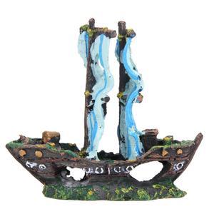 Image 3 - Resin Home Aquarium Decoration Wreck Sunk Ship Aquarium Ornament Sailing Boat Destroyer Fish Tank Aquarium Decoration