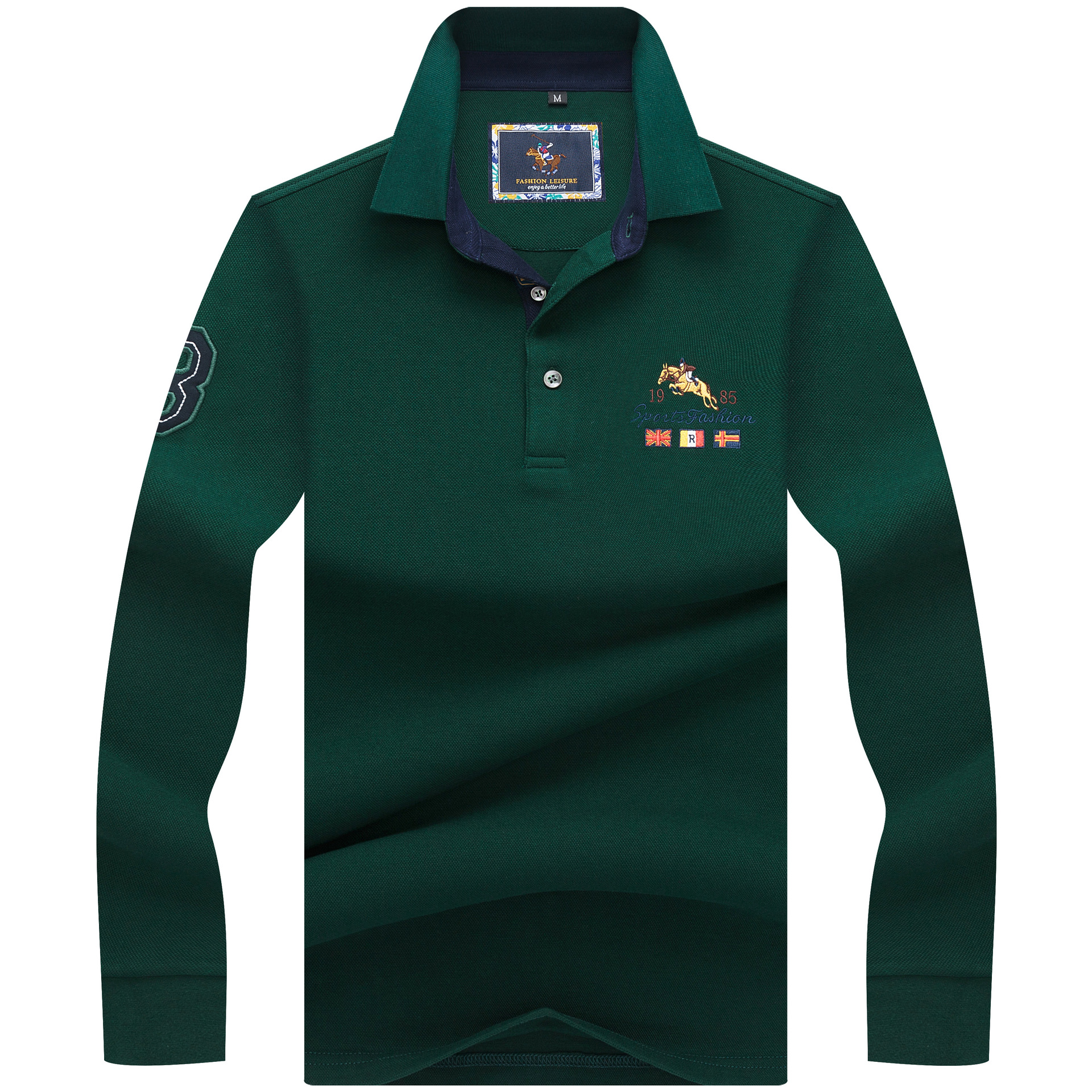 Designer Men   Polo   Shirts Long Sleeve 2018 Autumn Fashion Embroidery Solid Top Cotton Casual Shirt Men's   Polo   Tees 3XL AF8815