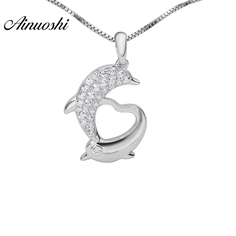 AINOUSHI 925 Sterling Silver Dolphin Heart Shaped Women Necklace Pendants Sona Round Cut Anniversary Silver Animal Pendants Gift fashion custom lettering 925 silver love heart shaped couple necklace peach heart pendants for men and women yp3196