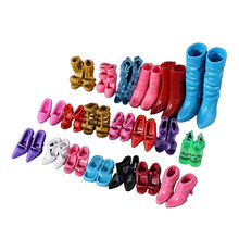 10Pairs/set Girl Doll Shoes Assorted Colors Mixed Style Bandage Bow High Heel Sandals for Barbie Dolls Accessories Kid Toy Gifts(China)