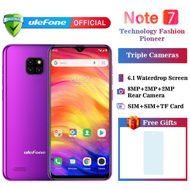 Ulefone Note 7 смартфон 3500 мАч 19:9 4 ядра 6,1 дюймов водослива экран 16 Гб встроенная память мобильного телефона WCDMA Android8.1