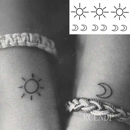 87546aaa8 ... Waterproof Temporary Tattoo Sticker sun Moon Fake Tatto Flash Tatoo  Tatouage Wrist Foot Hand Arm For ...