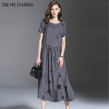 2017  New Fashion Women 90% Polyester + 10% silk  sual Straight Dot Short Sleeve Print Loose long Dress Vestidos Summer High End