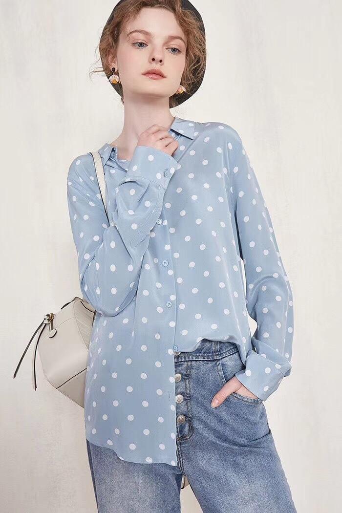 Womens Shirt 2019 Classic Retro Art Playful Style Polka Dot Printed Silk Shirt Shirt Top