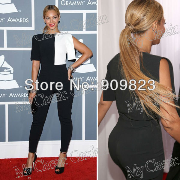 df1c4ed9c3ca 2013 Grammys Beyonce Knowles Round Neck Black And White Designer Suits  Jumpsuit 2013