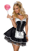 Black Lace Up Maid Adult Costume Lady French Maid Costume S M L XL 2XL