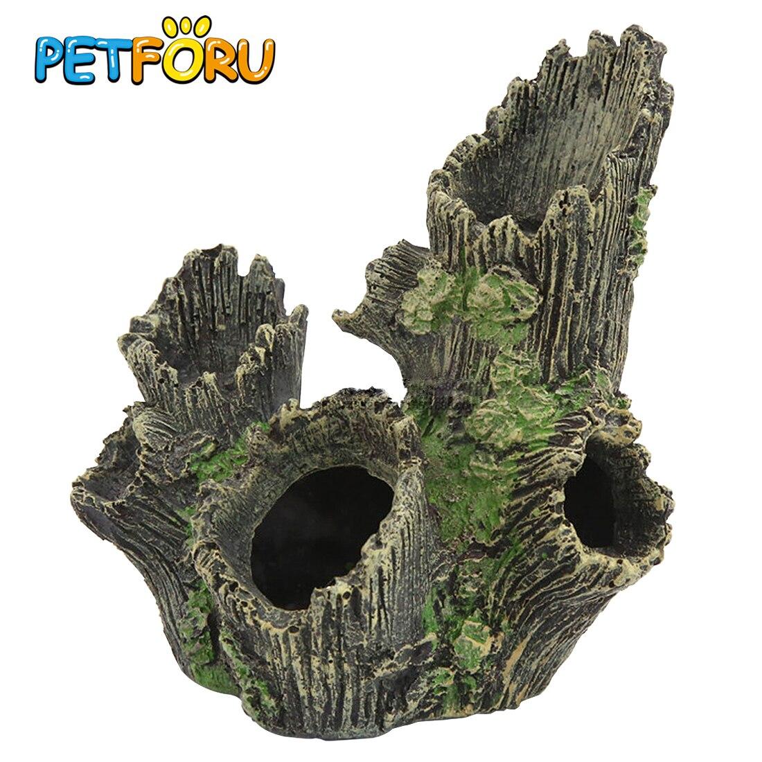 Petforu 17*12*19CM Resin Hollow Simulation Tree Hole Hiding Cave Aquarium Reptile Habitat Landscaping Decor