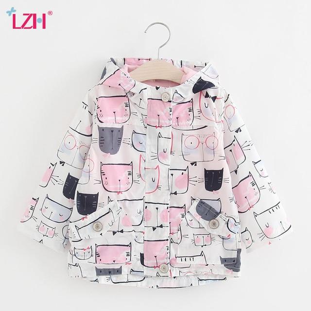 LZH Baby Girls Trench Coat 2017 Spring Flower Girls Jacket For Girls Windbreaker Kids Graffiti Outerwear Coat Children Clothes