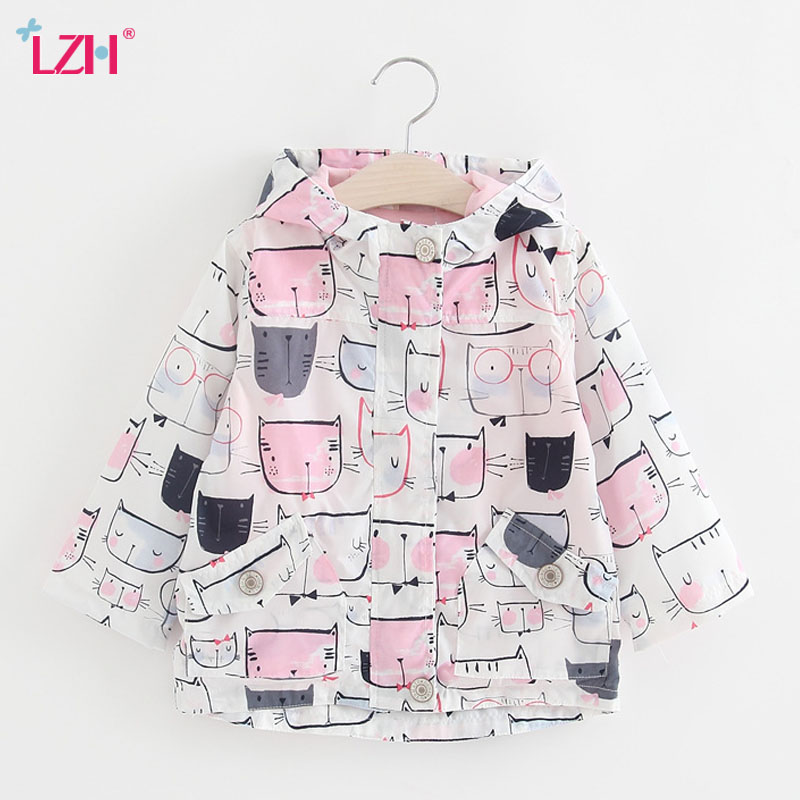 8c6490a34cab LZH Girls Trench Coat 2017 Spring Autumn Baby Girls Jacket For Girls  Windbreaker Kids Graffiti Outerwear Coat Children Clothes