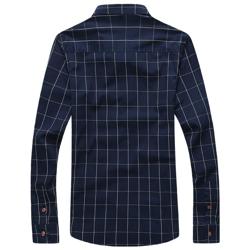 2018 New Autumn Fashion Brand Men Clothes Slim Fit Men Long Sleeve Shirt Men Plaid Cotton Casual Men Shirt Social Plus Size 5XL