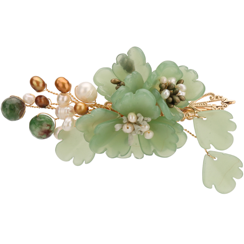 Handmade Classical Mori Girl Lolita Kanzashi Hair Accessories Green Hairpin Hair sticks Woman Graceful Hair Pin
