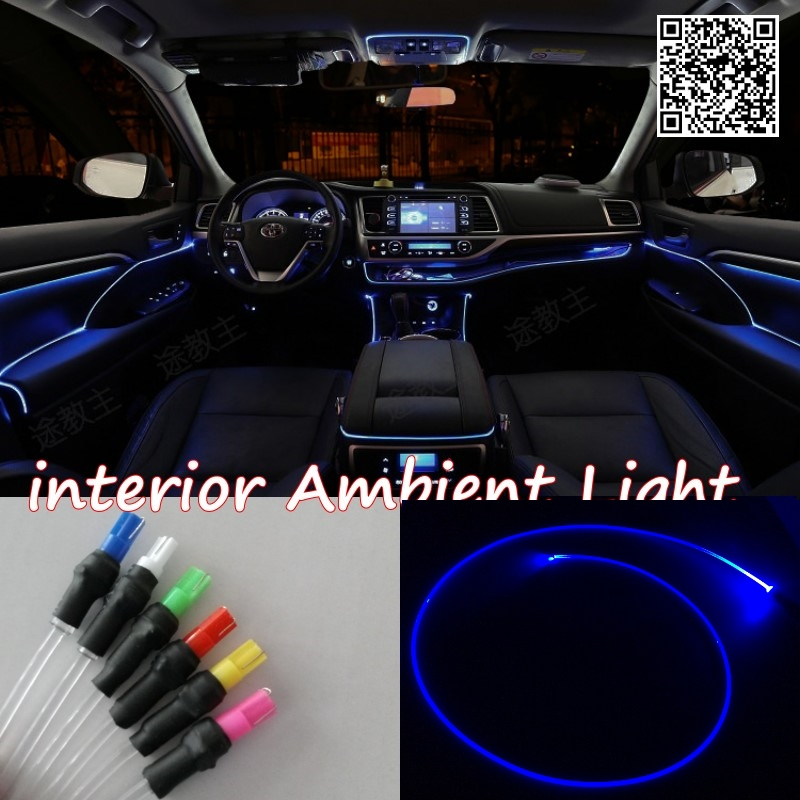 For FORD Fiesta 1995-2015 Car Interior Ambient Light Panel illumination For Car Inside Cool Strip Light Optic Fiber Band for suzuki ignis 2000 2016 car interior ambient light panel illumination for car inside tuning cool strip light optic fiber band
