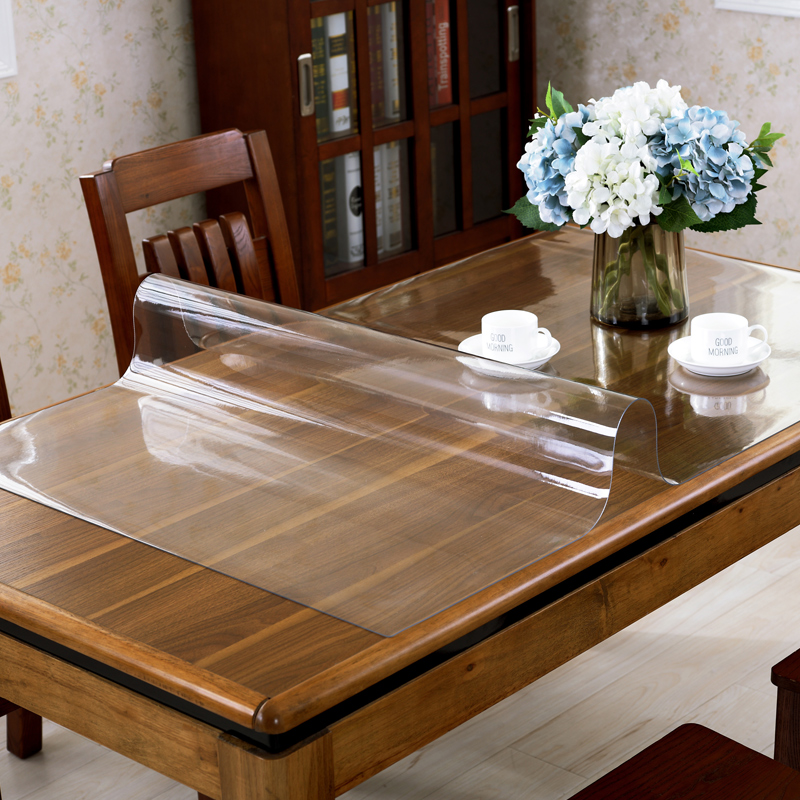 Transparent table mat Soft glass 1.5mm PVC plastic waterproof tablecloth oilproof Placemat Heat resistant dining table cover