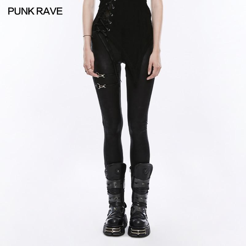 Панк рейв моды Повседневное Растягивающиеся леггинсы пикантные черные сапоги Visual Kei стимпанк Новинка